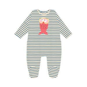Pyjama bébé une pièce à fines rayures avec un poisson rose sérigrpahié devant