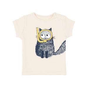Tee-shirt blanc avec une sérigrpahie d'un chat bleu marine qui porte un masque et un tuba